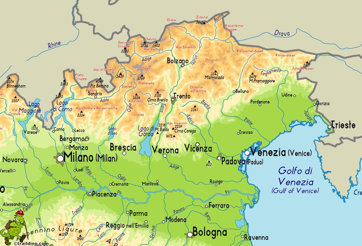 Nord Est Italia Hartă Harta De Nord Est Italia Europa De Sud