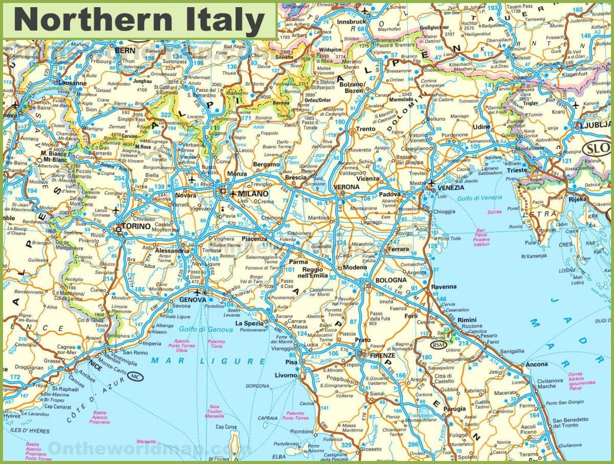 Harta Din Nordul Italiei Orașe Nordul Italiei Harta Turistica